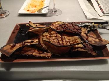 Fried aubergine with honey